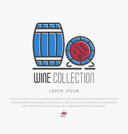 viticulture: Logotype of wine and wine making. Modern thin line icons, flat style design.