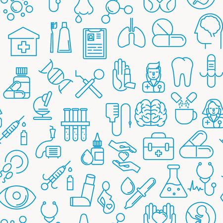 Médico y saludable conceptual patrón sin fisuras con línea fina iconos. Ilustración vectorial de fondo para el sitio web, aplicación, clínica o seguro. Ilustración de vector