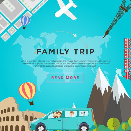 Family road traveling concept. Trip of happy family with dog through Europe by the car. Flat vector illustration.