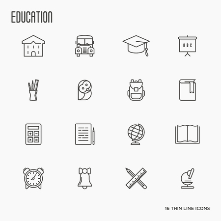Education and learning thin line icons set, modern vector collection of high school objects and college items, teaching symbols and educational equipment.