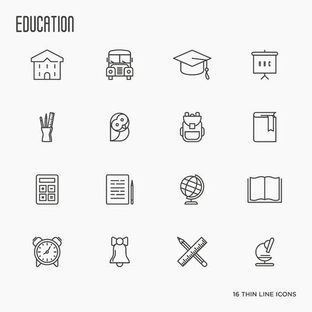 Educación y aprendizaje de iconos de líneas finas, colección de vectores modernos de objetos de la escuela secundaria y artículos de la universidad, símbolos de enseñanza y equipamiento educativo. Foto de archivo - 79181991