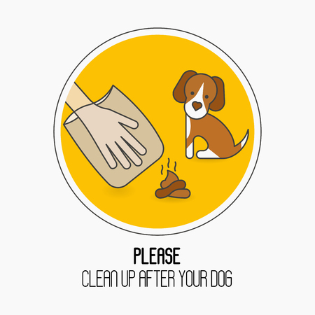 Prohibition sign: please clean up after your dog. Cute dog, hand in plastic package and poop. Ecological cleanliness concept thin line vector illustration. Ilustrace