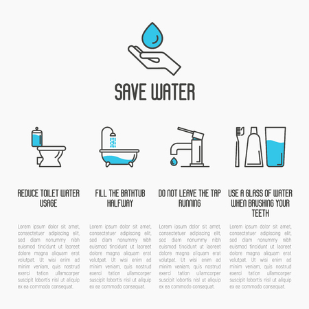 Save water concept: toilet, bathtub, tap and brushing teeth economy usage. Thin line vector illustration. Illustration