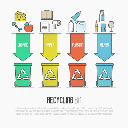 refuse: Recycling ecological concept with four colored waste bins that illustrates types of segregation: organic, paper, plastic, glass garbage. Modern flat thin line vector illustration.