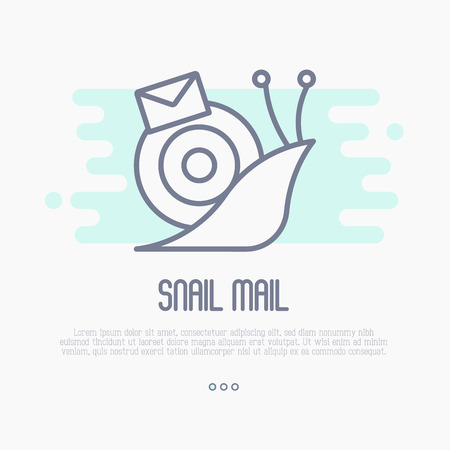 Thin line icon of snail mail with envelope. Symbol of slow mail. Vector illustration. Иллюстрация