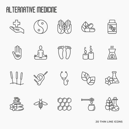 Medicina alternativa línea delgada conjunto de iconos. Elementos para la aplicación o sitio web para yoga, acupuntura, wellness, ayurveda, medicina china, centro holístico. Ilustración del vector. Ilustración de vector