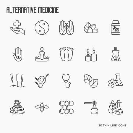 Alternative medicine thin line icon set. Elements for app or web site for yoga, acupuncture, wellness, ayurveda, chinese medicine, holistic centre. Vector illustration. Vettoriali