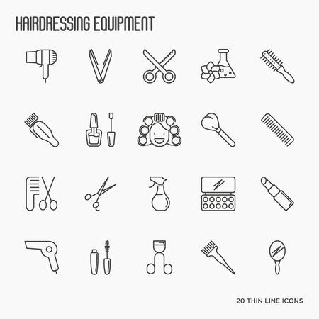 Парикмахерское оборудование, парикмахерская, парикмахерская тонкая линия икон. Векторные иллюстрации