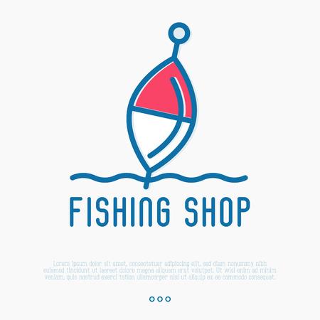 Логотип для рыболовного магазина с поплавком в тонком стиле. Простая минималистская векторная иллюстрация.