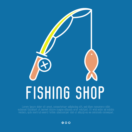 fisheries: Logo for fishing shop with fishing rod in thin line style. Simple minimalistic vector illustration.