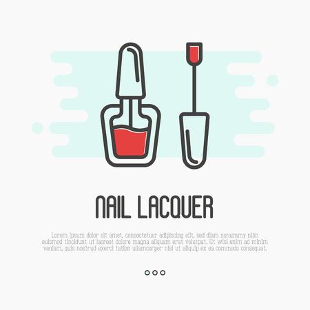 Красный значок лака для ногтей для логотипа маникюрного салона или мастера. Тонкая линия векторные иллюстрации.