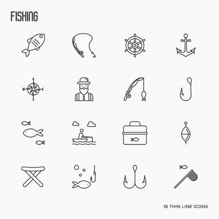 Рыболовные иконки тонкой линии: рыбак, крючки, лодка, удилище. Векторные иллюстрации.