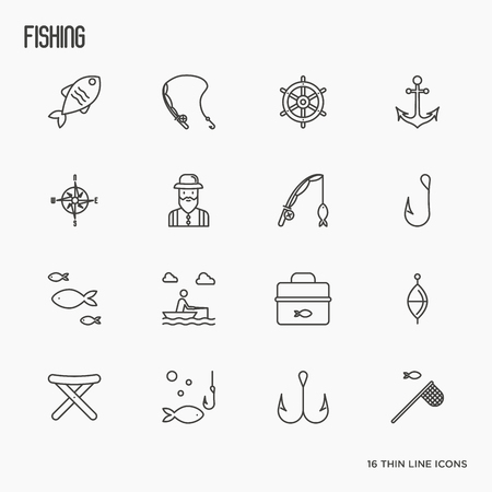 sinker: Fishing related thin line icons: fisherman, hooks, boat, rod. Vector illustration.