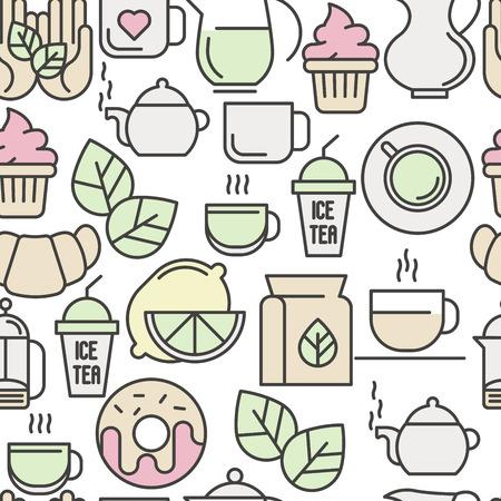 Бесшовный узор чая, чайная церемония и продажа чайных напитков. Тонкая линия векторных иллюстраций для фона веб-сайта, баннеров и печатных материалов.
