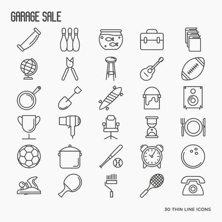Значки продажи гаража или блошиного рынка: старые книги, мебель, мячи, предметы домашнего обихода. Тонкая линия векторные иллюстрации.