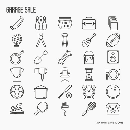 Garage sale or flea market related icons: old books, furniture, balls, house ware. Thin line vector illustration.