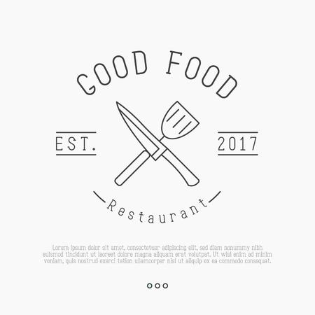 Логотип для кафе или ресторана с ножом и шпателем в тонком стиле. Простая минималистская векторная иллюстрация.