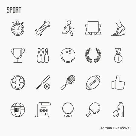 thin ice: Set of thin line sport and winning games icons. Vector illustration.