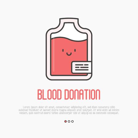 Концепция донорства крови: тонкая линия значок мешка крови с счастливым лицом. Векторные иллюстрации.