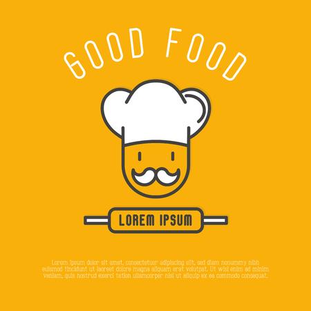 Логотип для кафе или ресторана с шеф-поваром в шляпе с усами. Тонкая линия векторные иллюстрации. Иллюстрация