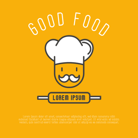 Logo for cafe or restaurant with chef in hat with mustache. Thin line vector illustration.