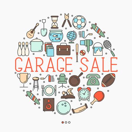 Продажа гаража или концепция блошиного рынка в кругу с текстом внутри. Тонкая линия векторные иллюстрации.