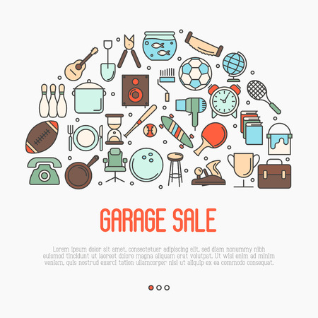 garage on house: Garage sale or flea market concept in circle with text inside. Thin line vector illustration.