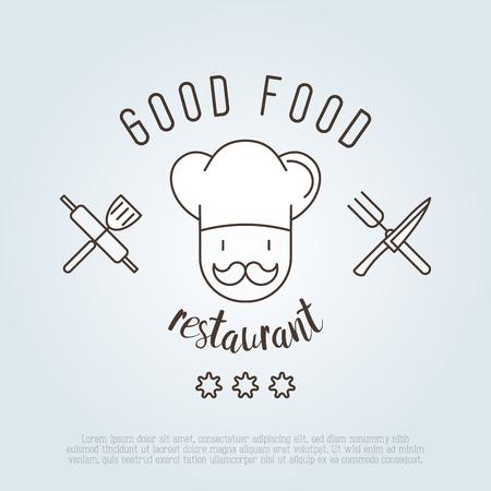 Логотип для кафе или ресторана с шеф-поваром в шляпе с усами, ножом, шпателем и вилкой. Тонкая линия векторные иллюстрации. Иллюстрация