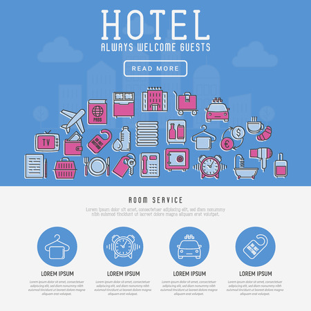 Концепция гостиничных услуг с иконками тонкой линии на фоне города. Векторные иллюстрации для веб-сайта или баннера.