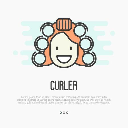 rulos: Mujer de dibujos animados feliz con bigudíes. Línea fina ilustración vectorial.