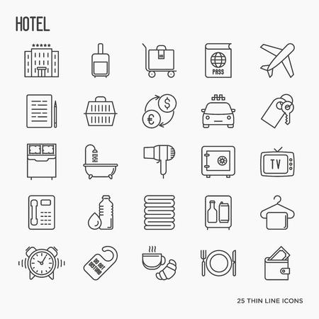Гостиничные услуги, услуги в номере тонкой линии иконки. Векторные иллюстрации. Иллюстрация