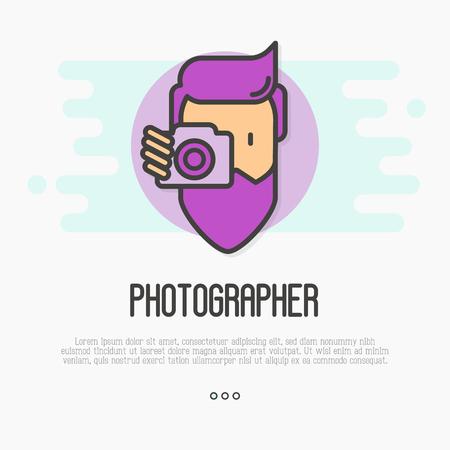 Хипстер, бородатый человек с камерой делает фото. Значок тонкой линии для логотипа фотографа. Векторные иллюстрации. Иллюстрация