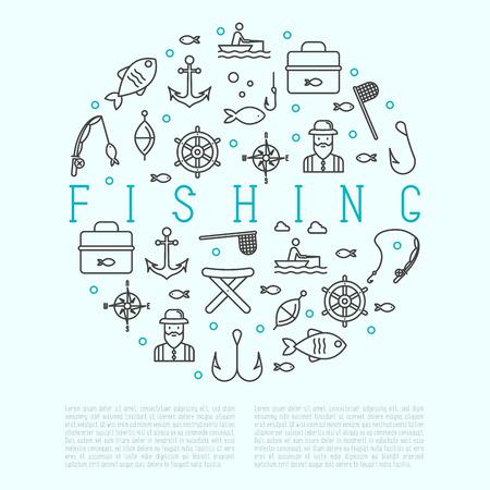 Концепция рыбалки в кругу с соответствующими значками тонкой линии: рыбак, крючки, лодка, удилище. Векторные иллюстрации.