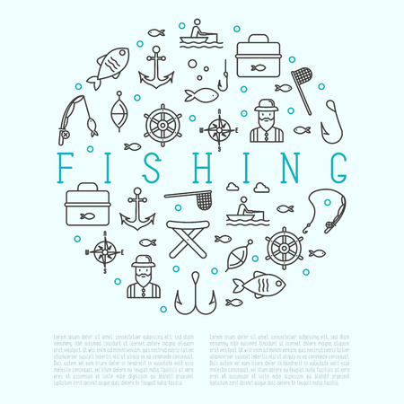 sinker: Fishing concept in circle with related thin line icons: fisherman, hooks, boat, rod. Vector illustration.