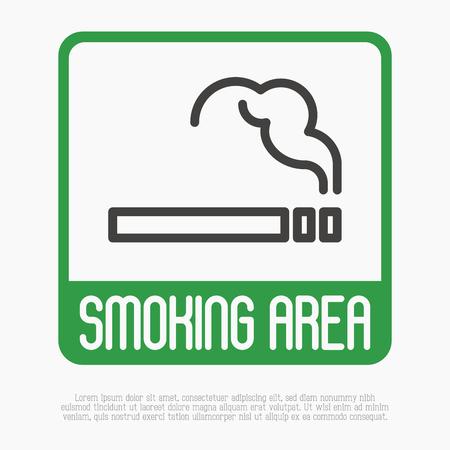 Курение тонкой линии знак. Векторные иллюстрации.