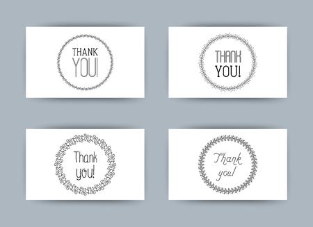 Четыре разных стиля для карт. Спасибо пузырям, листьям, сердцам. Простая минималистская векторная иллюстрация.
