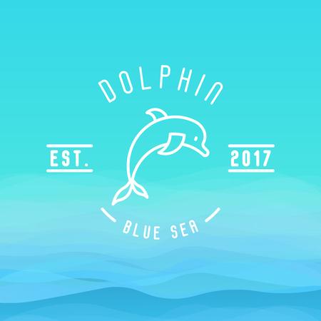 Логотип с изображением тонкой линии дельфина, прыгающего над волнами для фирменной идентичности отелей, туристического бизнеса, курорта, пляжного обслуживания, здравоохранения, праздников, курортов или отеля у океана.