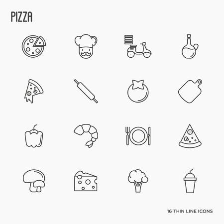 Пицца кулинария связанных тонкой линии икон: помидор, сыр, креветки, доставка, грибы, шеф-повар, велосипед. Векторные иллюстрации.