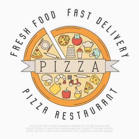 Логотип Pizza с иконками тонкой линии для дизайна меню ресторана или пиццерии. Векторные иллюстрации.