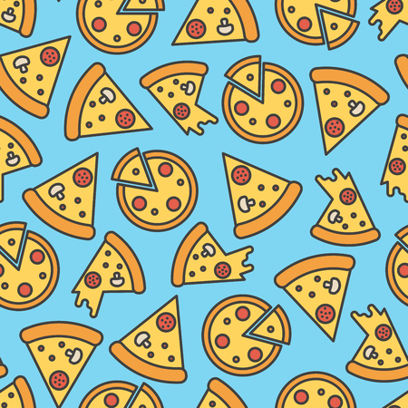 blue cheese: Pizza slice seamless pattern on blue background. Thin line vector illustration. Illustration
