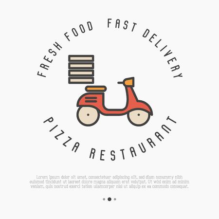 Концепция быстрой доставки пиццы. Тонкий велосипед для рекламы ресторана или пиццерии. Векторные иллюстрации.