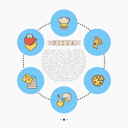 Концепция круга пиццы с тонкими значками линии для дизайна меню ресторана или пиццерии. Векторные иллюстрации. Иллюстрация