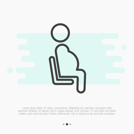 Общественный знак приоритетного места для беременной женщины. Тонкая линия векторные иллюстрации.