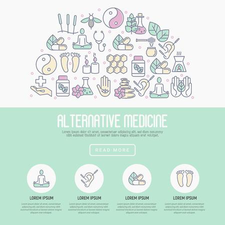 Альтернативная медицина концепции с тонкой линии икон. Элементы для приложения или веб-сайта для йоги, иглоукалывания, wellness, аюрведы, китайской медицины, целостного центра. Векторные иллюстрации.