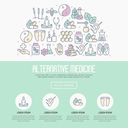 Alternative medicine concept with thin line icons. Elements for app or web site for yoga, acupuncture, wellness, ayurveda, chinese medicine, holistic center. Vector illustration.