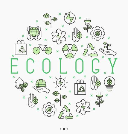 Концепция экологии в круге с иконками тонкой линии для окружающей среды, переработки, возобновляемых источников энергии, природы. Векторные иллюстрации. Иллюстрация