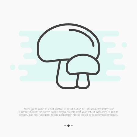 Икона тонкой линии грибов. Шампиньон векторные иллюстрации. Иллюстрация