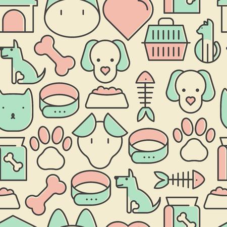 Бесшовные узор и фон с тонкой иконки линии, связанные с животными и животными для веб-сайтов и принтов для домашних животных. Векторные иллюстрации.