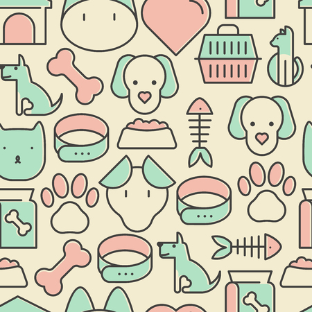 Seamless pattern and background with thin line icons related to pets and animals for pet shop websites and prints. Vector illustration. Иллюстрация