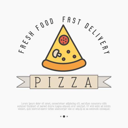 Логотип Pizza slice с изображением тонкой линии для дизайна меню ресторана или пиццерии. Векторные иллюстрации.